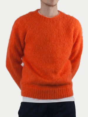 SIXES Mohair Diamond Crew Neck Sweater (Proper Orange) m1