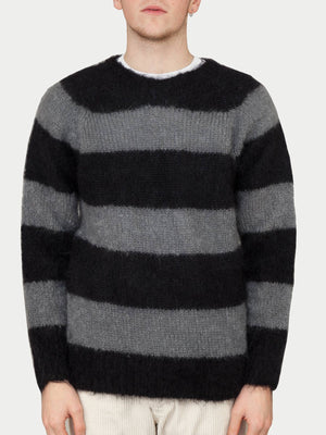 SIXES Mohair Stripe Crew Neck (Grey Stripe)
