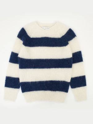 SIXES Mohair Stripe Crew Neck (White & Navy)