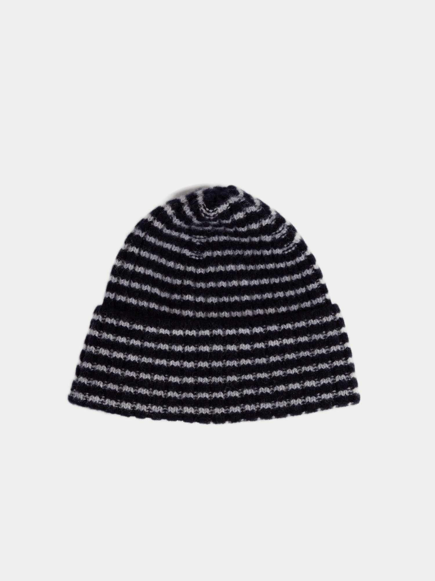 SIXES Striped Turnback Beanie (Oxford Blue & Ecru) 1