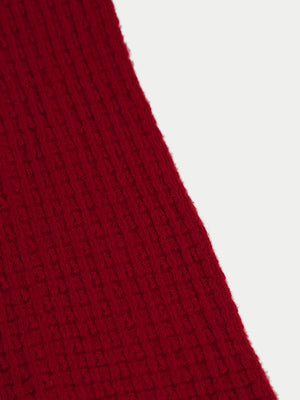 SIXES Waffle Textured Scarf (Crimson Red) 2