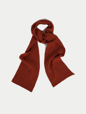 SIXES Waffle Textured Scarf (Ember Orange) 1