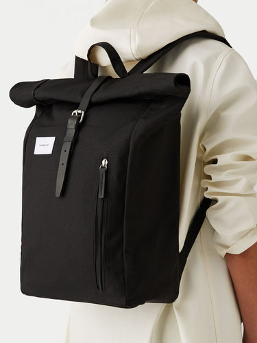 Sandqvist Dante Rolltop Backpack (Black & Black) Model