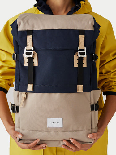 Sandqvist Harald Backpack (Beige & Blue) Model