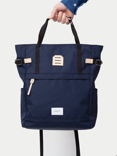 Sandqvist Roger Tote Bag (Navy & Natural) 11