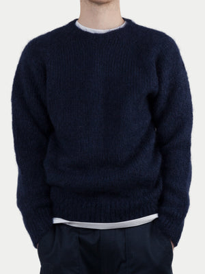 Sixes Mohair Block Crew Neck (Navy) m1