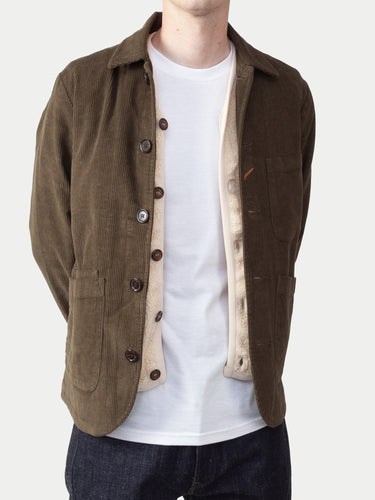 Universal Works Bakers Jacket (Cord Olive) 1