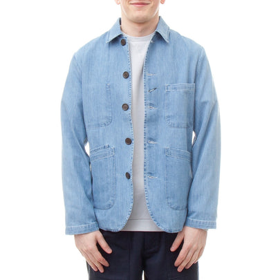 Universal Works Bakers Jacket (Summer Denim Indigo)-4
