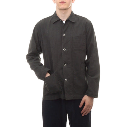 Universal Works Bakers Overshirt (Olive Heavy Oxford)1