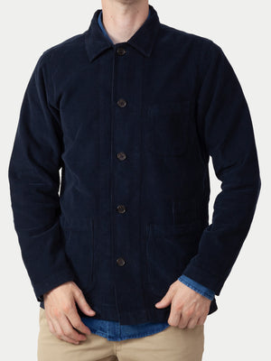 Universal Works Fine Cord Bakers Overshirt (Navy) 1