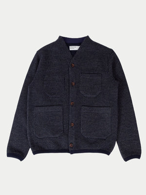 Universal Works Houndstooth Jersey Cardigan (Navy) 1
