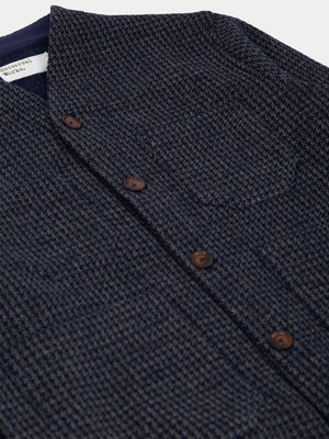 Universal Works Houndstooth Jersey Cardigan (Navy) 2