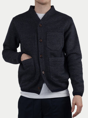 Universal Works Houndstooth Jersey Cardigan (Navy) m1