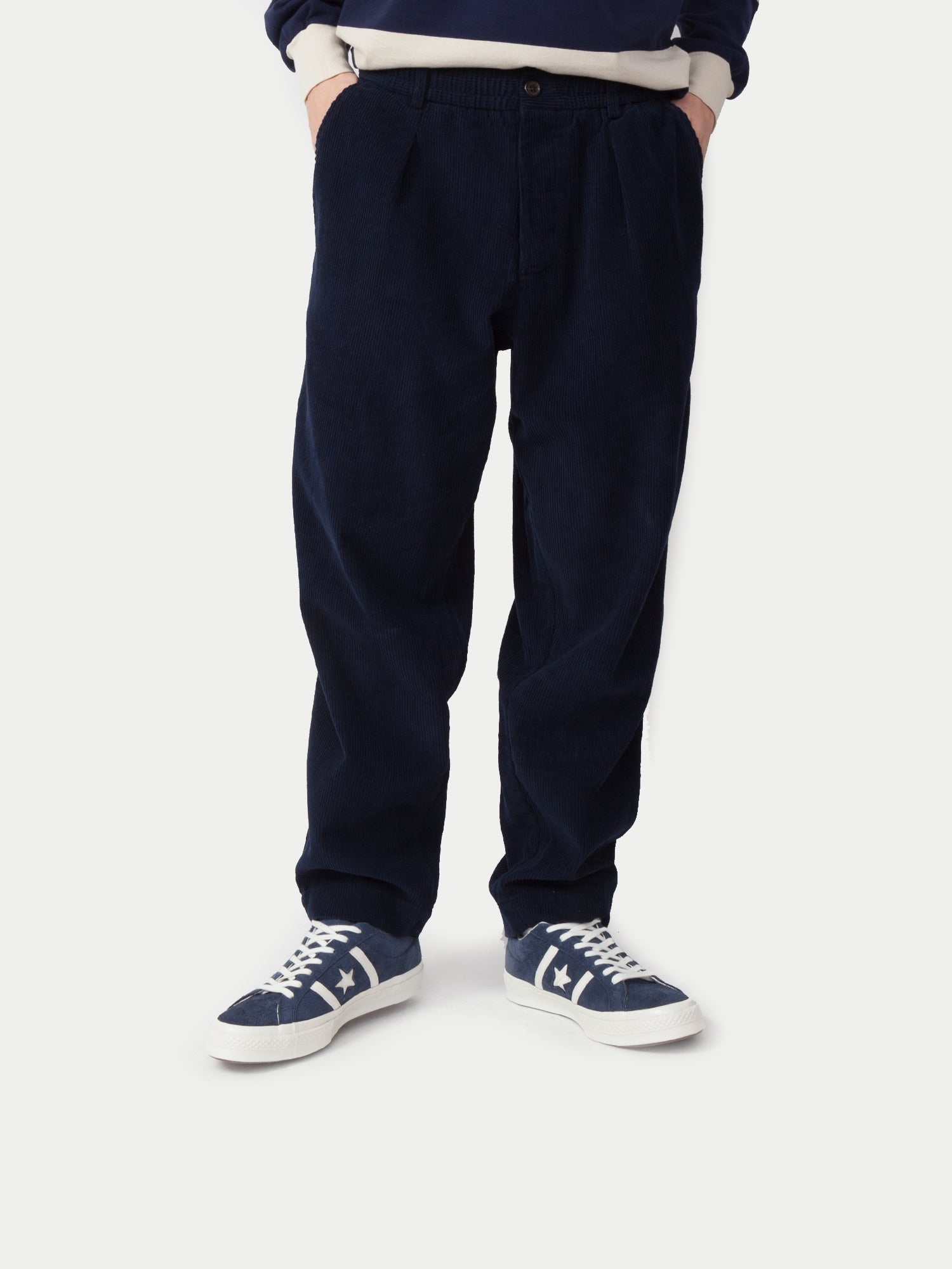 Universal Works Pleated Track Pant (Cord Navy) 1