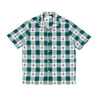 Universal Works Road Shirt (Ikat Check Green)-1