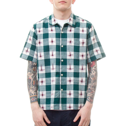 Universal Works Road Shirt (Ikat Check Green)-4