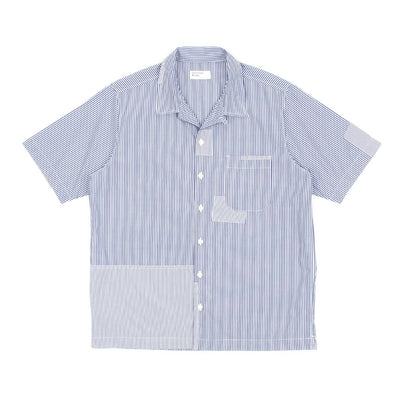Universal Works Road Shirt (Patched Navy Stripe)-1