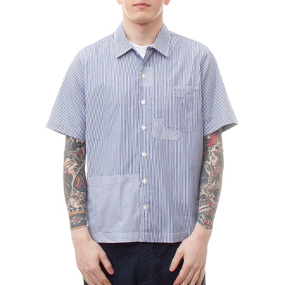 Universal Works Road Shirt (Patched Navy Stripe)-4
