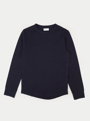 Universal Works Waffle Long Sleeve T-Shirt (Navy)