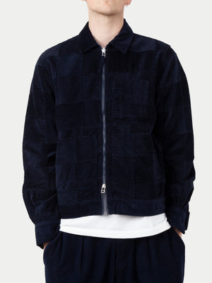 Universal Works Zip Uniform Jacket (Patchwork Cord Navy) 1