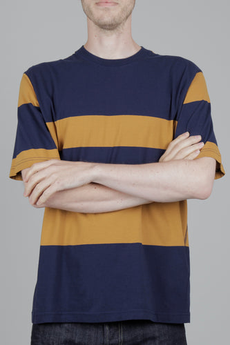 Universal Works Loose Wide Stripe T-Shirt (Navy & Cumin) Front