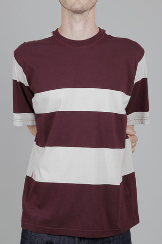 Universal Works Loose Wide Stripe T-Shirt (Raisin & Ecru) Front