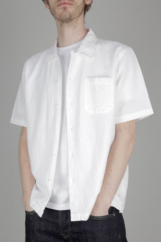 Universal Works Road Short Sleeved Shirt (Giants Seersucker White)
