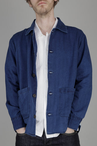 Universal Works Travail Shirt (Herringbone Washed Indigo Denim)