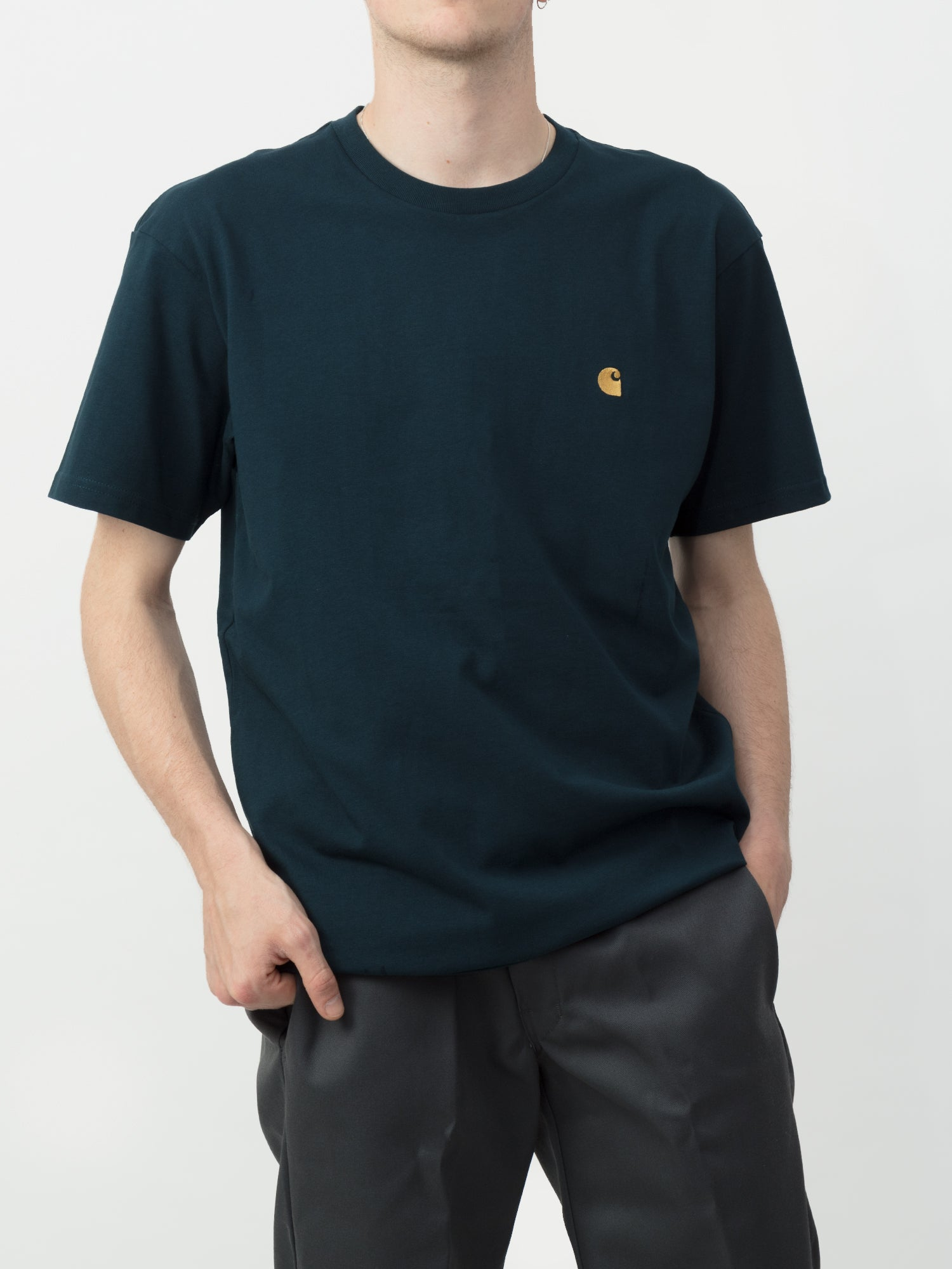 Carhartt S/S Chase T-Shirt (Duck Blue & Gold) 1