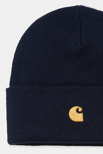 Carhartt Small Chase Beanie (Dark Navy) Zoomed