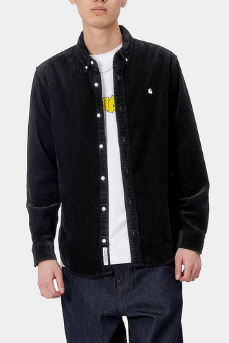Carhartt WIP Madison Cord Long Sleeve Shirt (Black)