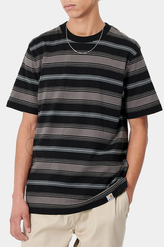 Carhartt WIP Buren Striped T-shirt (Grey / Black) Model
