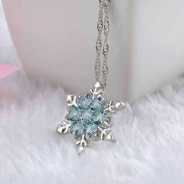 Charm Vintage lady Blue Crystal SnowflakeFlower Silver Necklace & Pendant