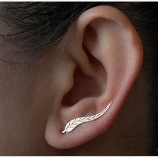 Vintage Exquisite Gold Plated Feather Stud Earrings