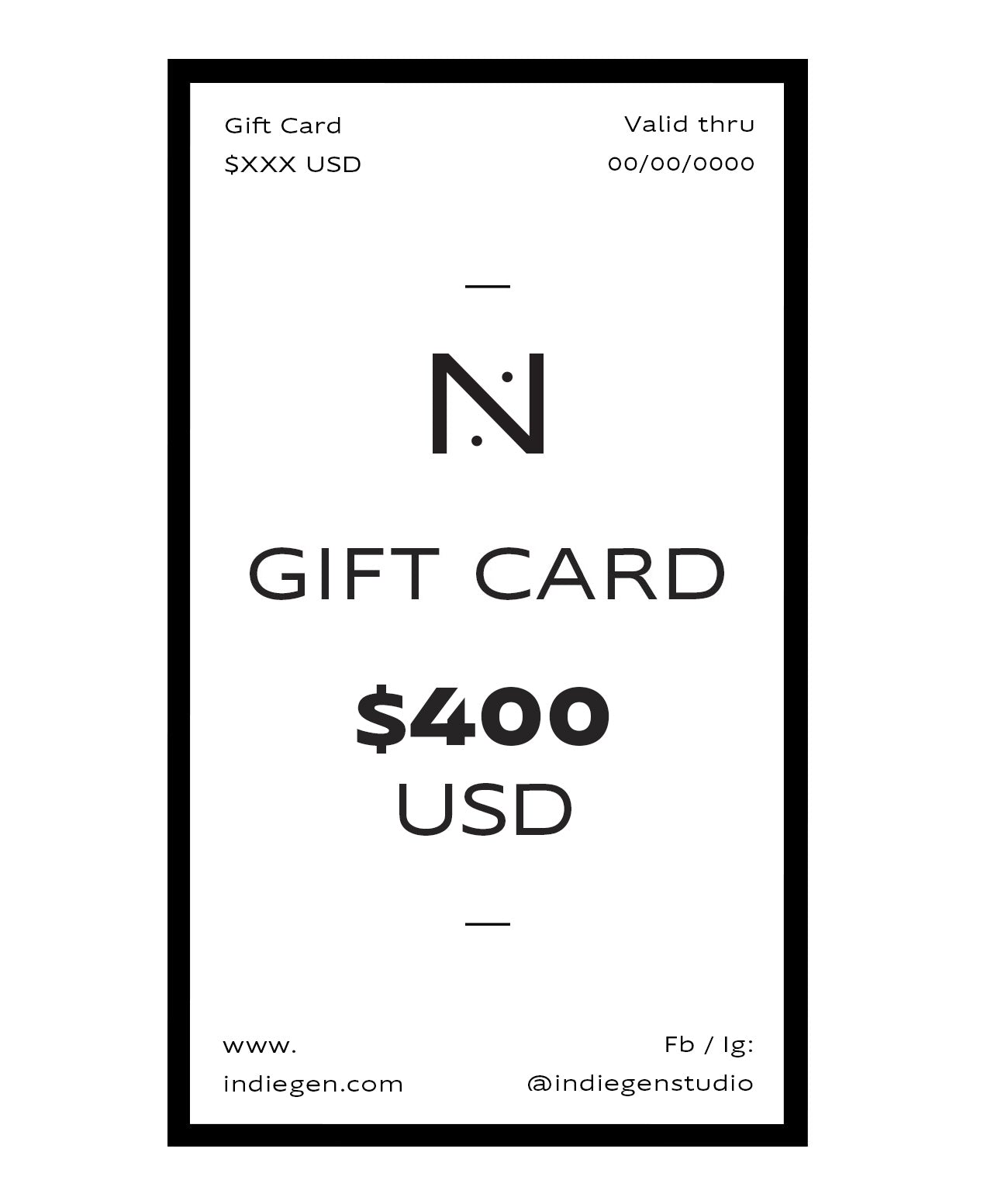 GIFT CARD $400 USD