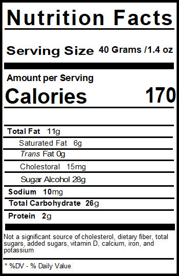Sugar Free Chocolate Nut Nutrition Facts