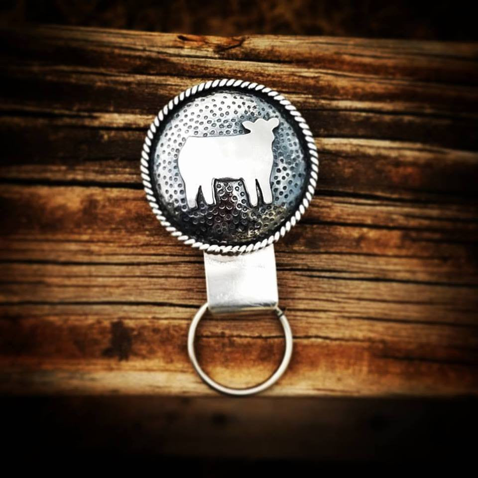 Custom Sterling Brand or Cow Keychain