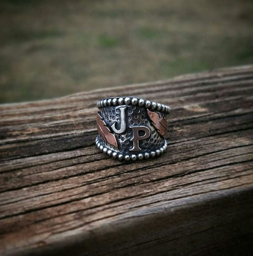 Deposit - Feathers & Initials Ring