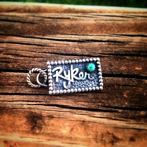Sterling & Turquoise Name Charm