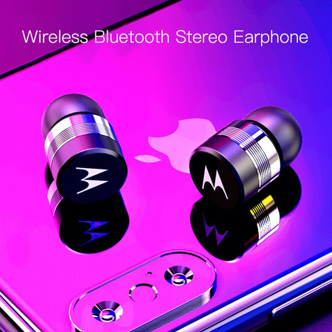 Waterproof Motorola 3D Stereo Wireless Bluetooth Earbuds with Microphone & Charging Box