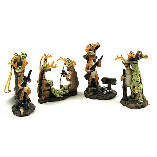 Comical Deer Hunter Ornament Priced Each