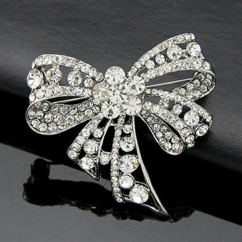 Rhinestoned Hollow Out Bow Brooch - White