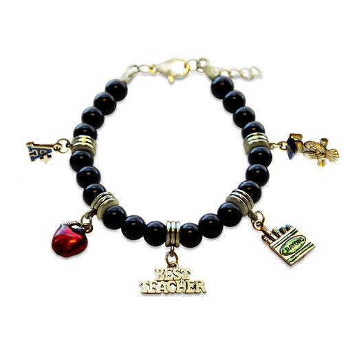 Teacher Charm Bracelet in Gold