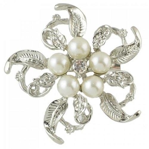Fashionable Faux Pearl Rhinestone Hollow Out Flower Brooch For Women - Silver