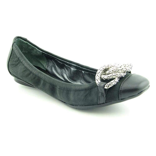 Nine West Avagh Womens Size 6.5 Black Leather Flats Shoes