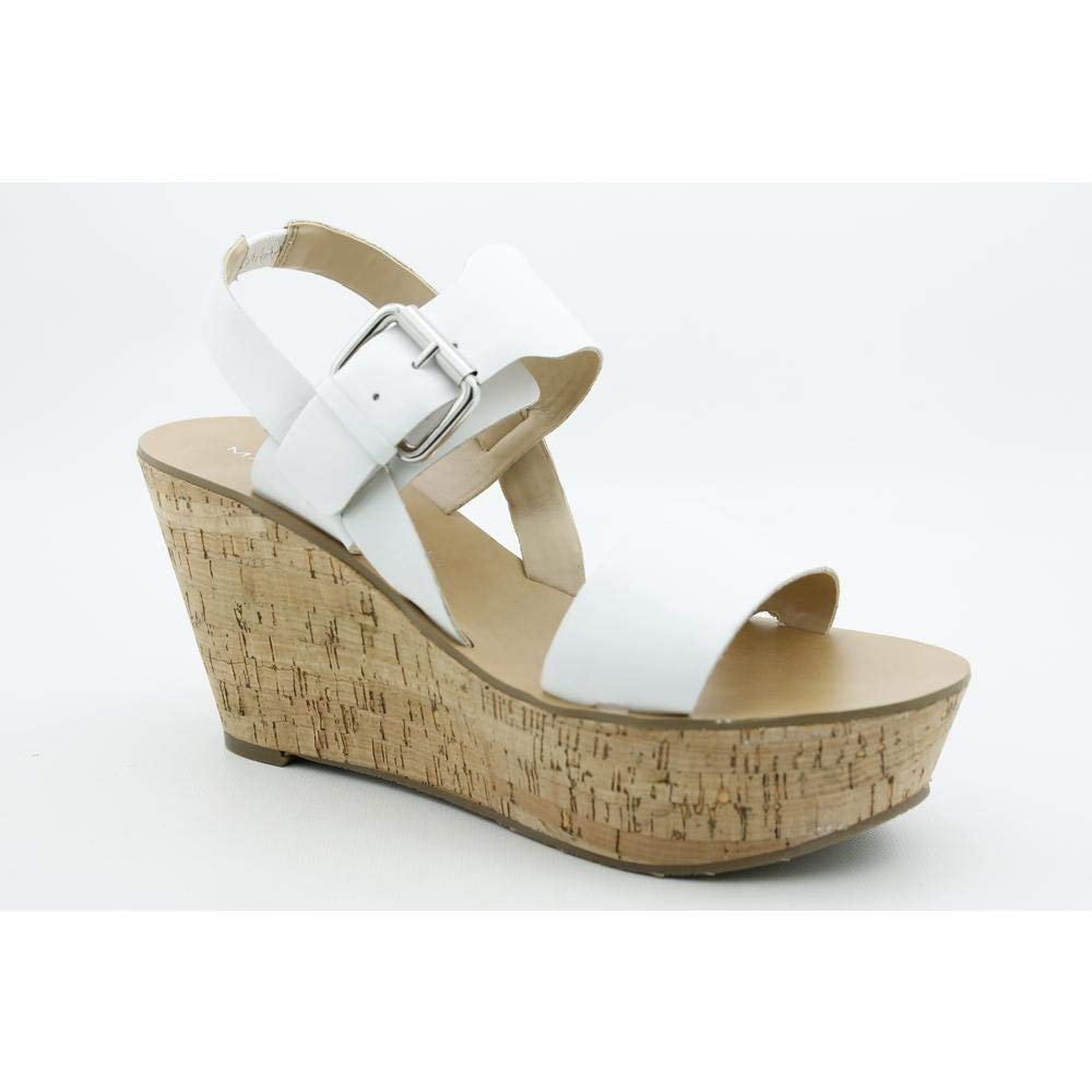 Marc Fisher Oralie Womens Size 10 White Open Toe Leather Wedge Sandals Shoes