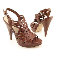 INC International Concepts Luna Womens SZ 6 Brown Strappy Peep-Toe Shoes