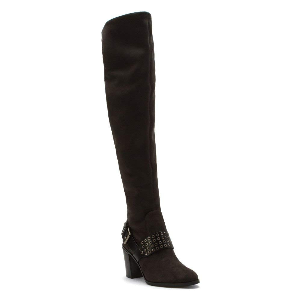 MICHAEL Michael Kors Women's Brody Over the Knee Boot Charcoal Suede/Vachetta 5.5 M