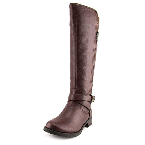 G by Guess Womens Halsey Knee High Motorcycle Boots, Brown, Size 6.5