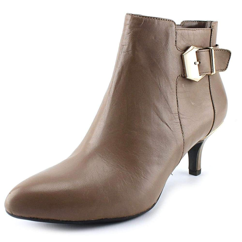 Anne Klein Faeryn Ankle Booties Taupe Leather